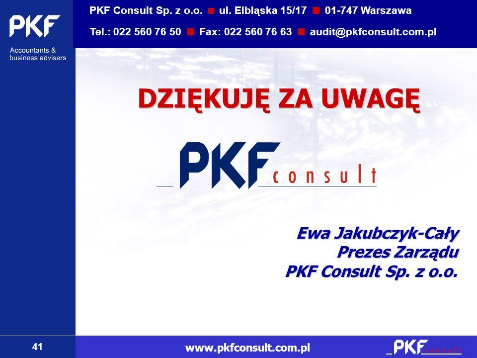 41 www.pkfconsult.com.pl DZIĘKUJĘ ZA UWAGĘ Ewa Jakubczyk-Cały Prezes Zarządu PKF Consult Sp. z o.o. PKF Consult Sp. z o.o. ul. Elbląska 15/17 01-747 W