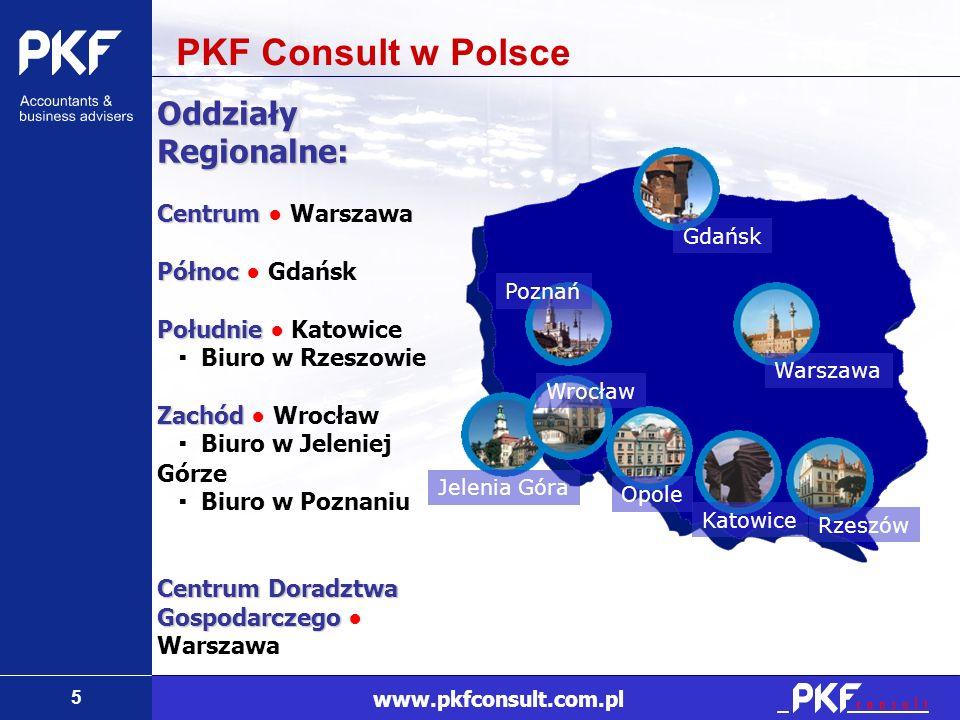 5 www.pkfconsult.com.pl Oddziały Regionalne: Centrum Centrum Warszawa Północ Północ Gdańsk Południe Południe Katowice Biuro w Rzeszowie Zachód Zachód