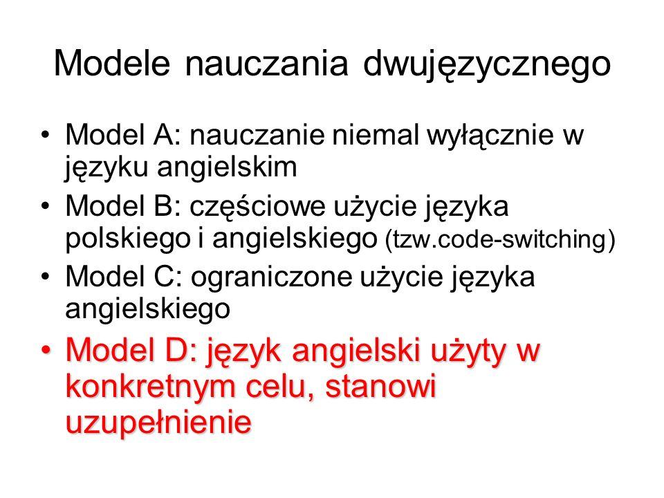 Modele nauczania dwujęzycznego Model A: nauczanie niemal wyłącznie w języku angielskim Model B: częściowe użycie języka polskiego i angielskiego (tzw.code-switching) Model C: ograniczone użycie języka angielskiego Model D: język angielski użyty w konkretnym celu, stanowi uzupełnienieModel D: język angielski użyty w konkretnym celu, stanowi uzupełnienie