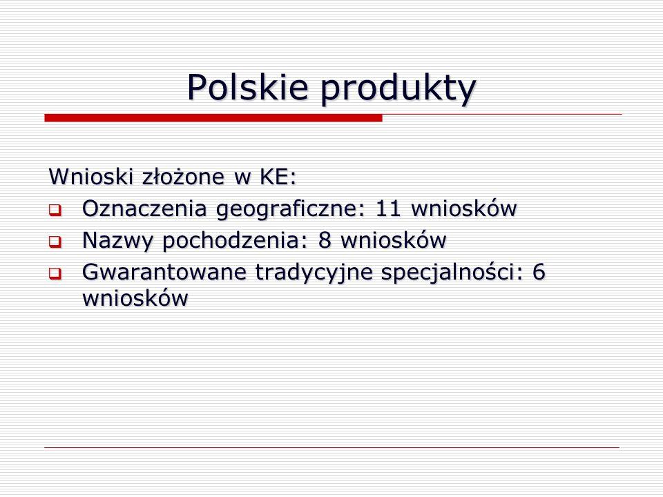 Polskie produkty Wnioski złożone w KE: Oznaczenia geograficzne: 11 wniosków Oznaczenia geograficzne: 11 wniosków Nazwy pochodzenia: 8 wniosków Nazwy p