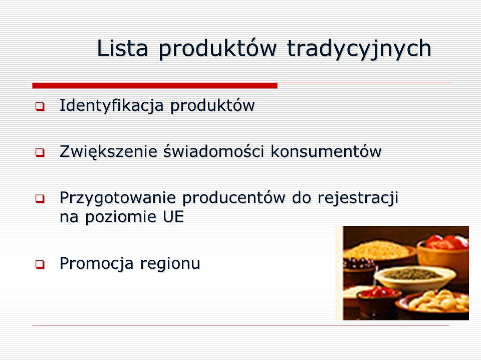 Lista produktów tradycyjnych Lista produktów tradycyjnych Identyfikacja produktów Identyfikacja produktów Zwiększenie świadomości konsumentów Zwiększe