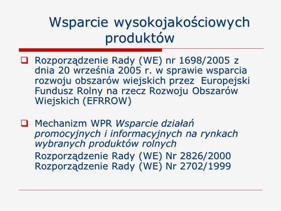 Wsparcie wysokojakościowych produktów Rozporządzenie Rady (WE) nr 1698/2005 z dnia 20 września 2005 r. w sprawie wsparcia rozwoju obszarów wiejskich p