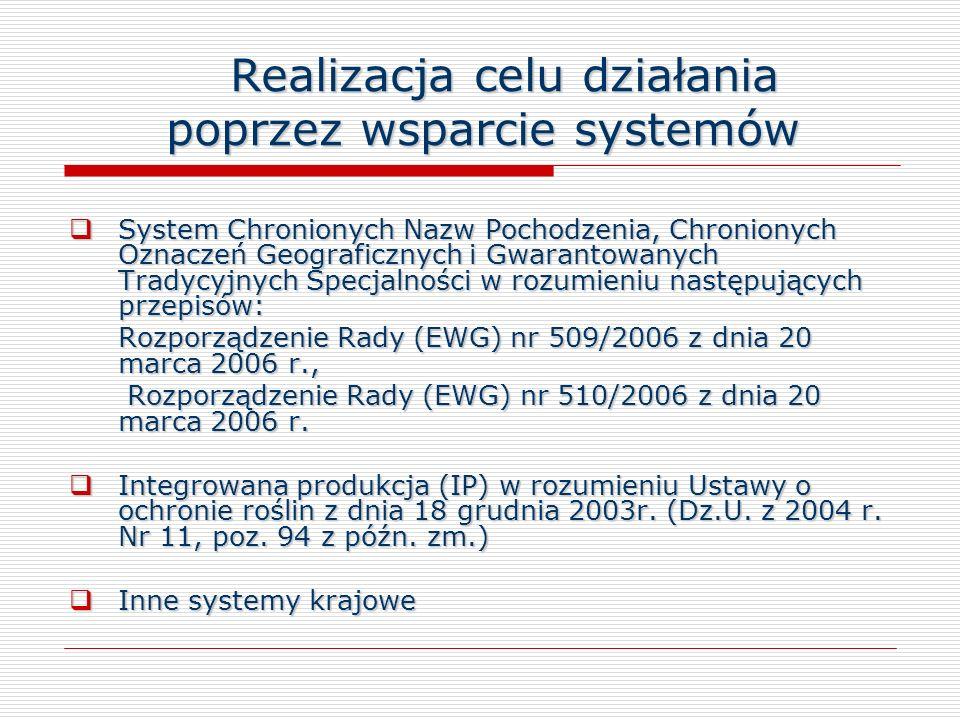 Realizacja celu działania poprzez wsparcie systemów Realizacja celu działania poprzez wsparcie systemów System Chronionych Nazw Pochodzenia, Chroniony