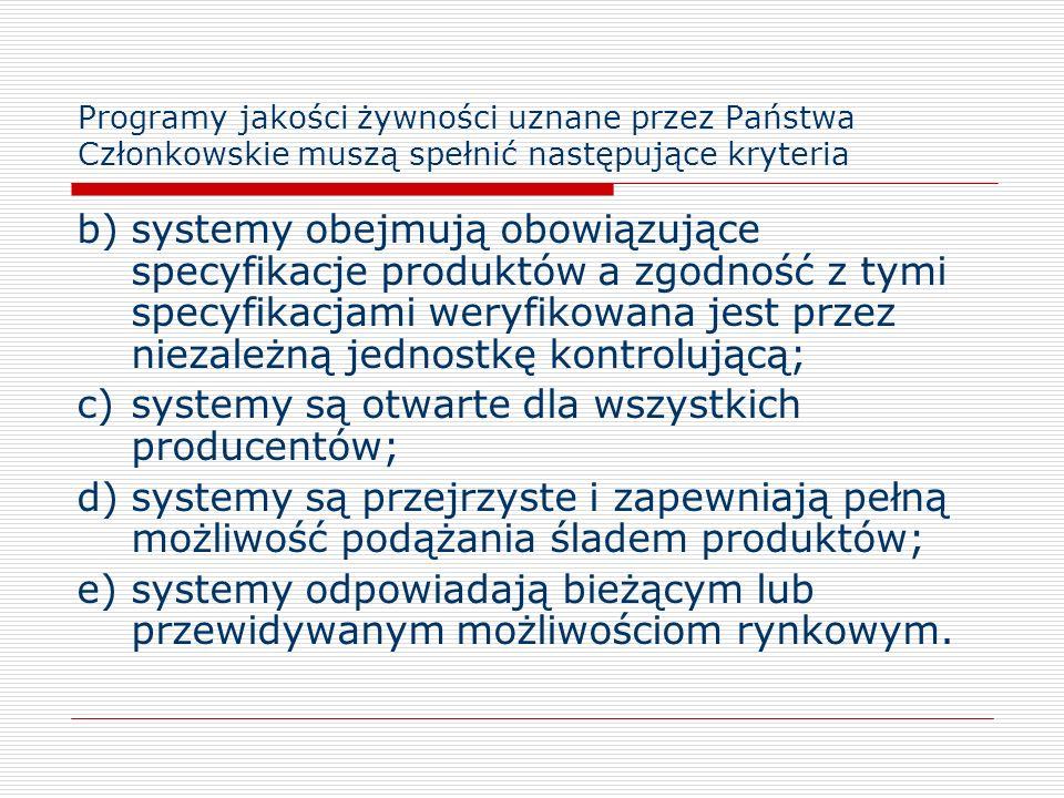 Programy jakości żywności uznane przez Państwa Członkowskie muszą spełnić następujące kryteria b)systemy obejmują obowiązujące specyfikacje produktów