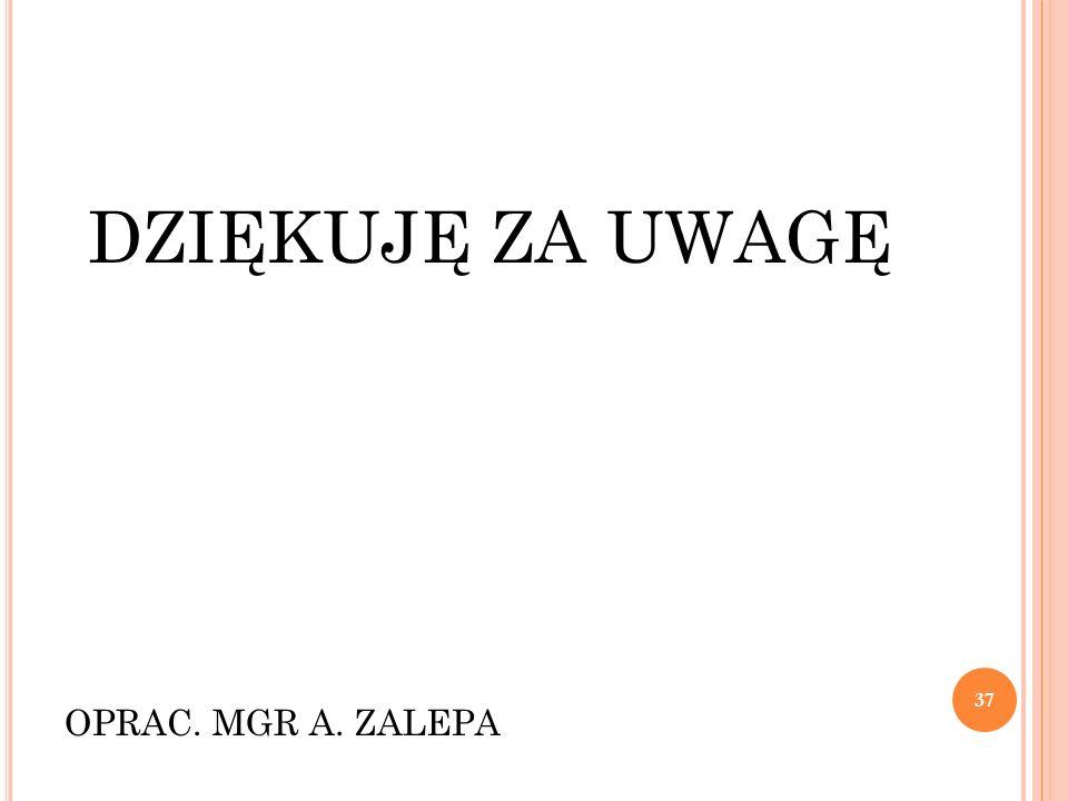 DZIĘKUJĘ ZA UWAGĘ OPRAC. MGR A. ZALEPA 37