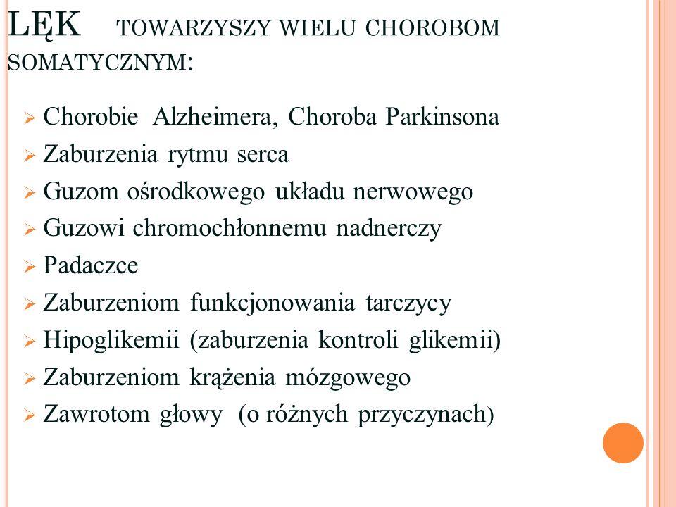 LĘK TOWARZYSZY WIELU CHOROBOM SOMATYCZNYM : Chorobie Alzheimera, Choroba Parkinsona Zaburzenia rytmu serca Guzom ośrodkowego układu nerwowego Guzowi c