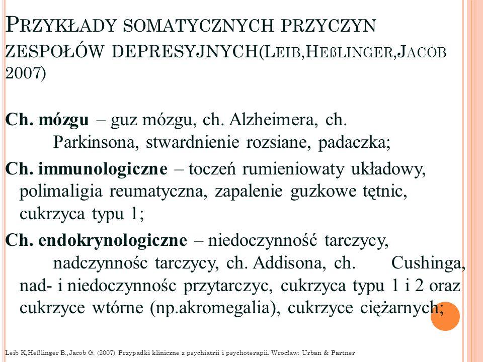 P RZYKŁADY SOMATYCZNYCH PRZYCZYN ZESPOŁÓW DEPRESYJNYCH (L EIB,H EßLINGER,J ACOB 2007) Ch. mózgu – guz mózgu, ch. Alzheimera, ch. Parkinsona, stwardnie