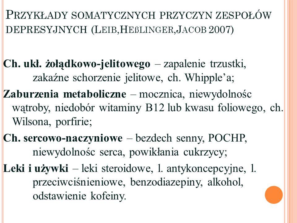 P RZYKŁADY SOMATYCZNYCH PRZYCZYN ZESPOŁÓW DEPRESYJNYCH (L EIB,H EßLINGER,J ACOB 2007) Ch. ukł. żołądkowo-jelitowego – zapalenie trzustki, zakaźne scho
