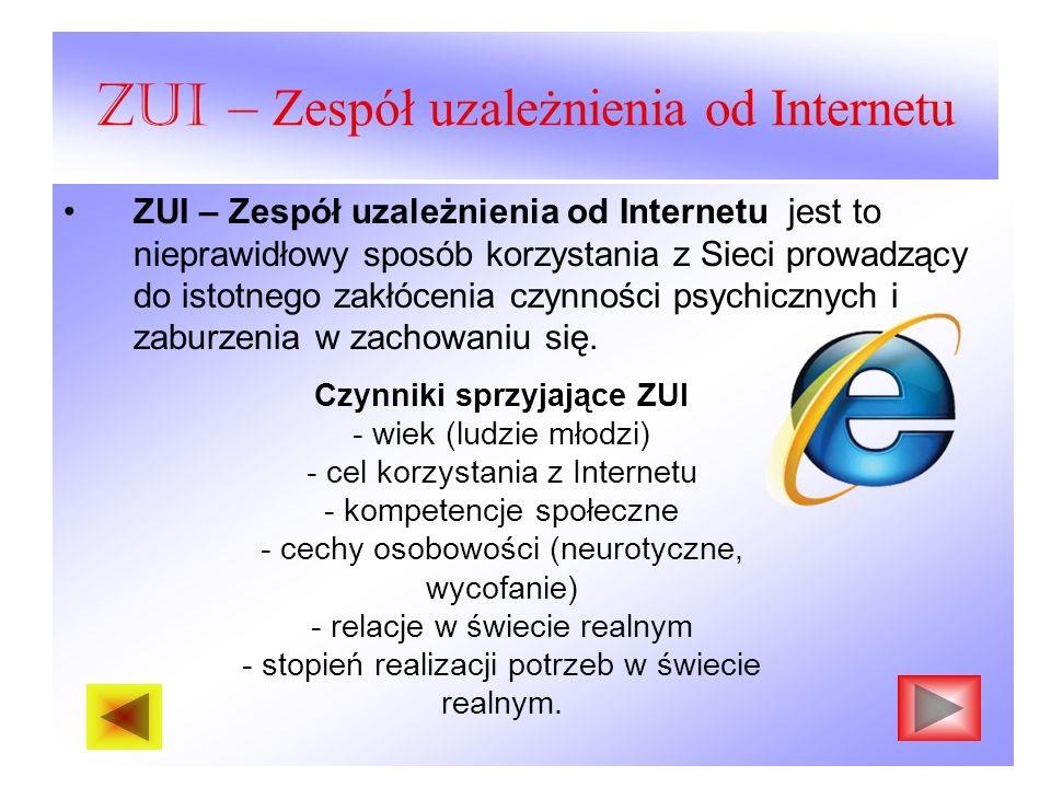 ZUI – Zespół uzależnienia od Internetu ZUI – Zespół uzależnienia od Internetu jest to nieprawidłowy sposób korzystania z Sieci prowadzący do istotnego zakłócenia czynności psychicznych i zaburzenia w zachowaniu się.
