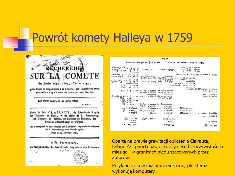 Powrót komety Halleya w 1759 Oparte na prawie grawitacji obliczenia Clairauta, Lalandea i pani Lepaute różniły się od rzeczywistości o miesiąc - w gra