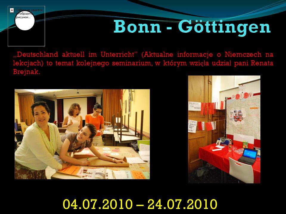 04.07.2010 – 24.07.2010 Deutschland aktuell im Unterricht (Aktualne informacje o Niemczech na lekcjach) to temat kolejnego seminarium, w którym wzi ęł