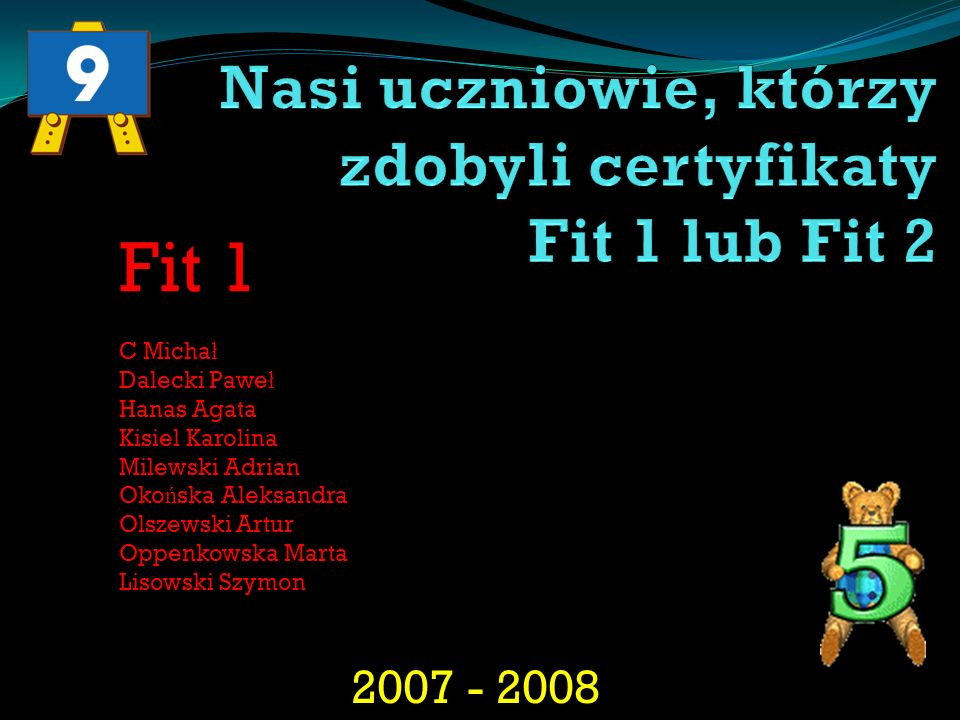 2007 - 2008 Fit 1 C Micha ł Dalecki Pawe ł Hanas Agata Kisiel Karolina Milewski Adrian Oko ń ska Aleksandra Olszewski Artur Oppenkowska Marta Lisowski