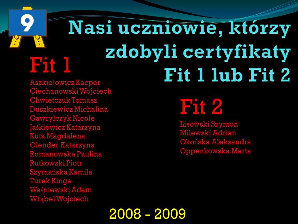 2008 - 2009 Fit 1 Aszkie ł owicz Kacper Ciechanowski Wojciech Chwietczuk Tomasz Duszkiewicz Michalina Gawrylczyk Nicole Ja ś kiewicz Katarzyna Kuta Ma