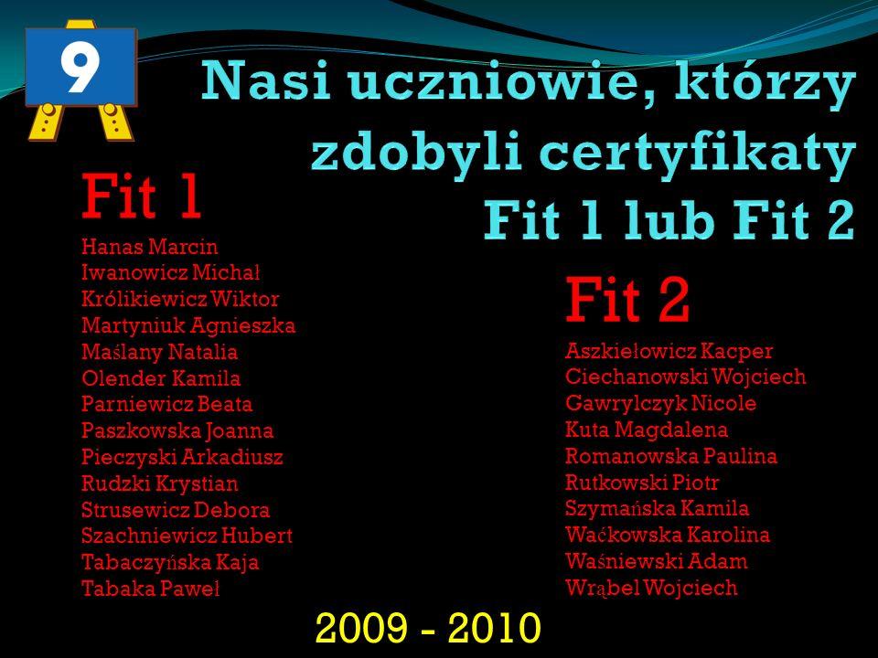 2009 - 2010 Fit 1 Hanas Marcin Iwanowicz Micha ł Królikiewicz Wiktor Martyniuk Agnieszka Ma ś lany Natalia Olender Kamila Parniewicz Beata Paszkowska