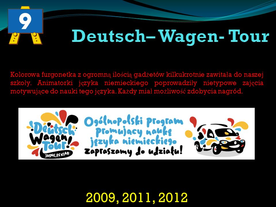 2009, 2011, 2012 Kolorowa furgonetka z ogromn ą ilo ś ci ą gad ż etów kilkukrotnie zawita ł a do naszej szko ł y. Animatorki j ę zyka niemieckiego pop