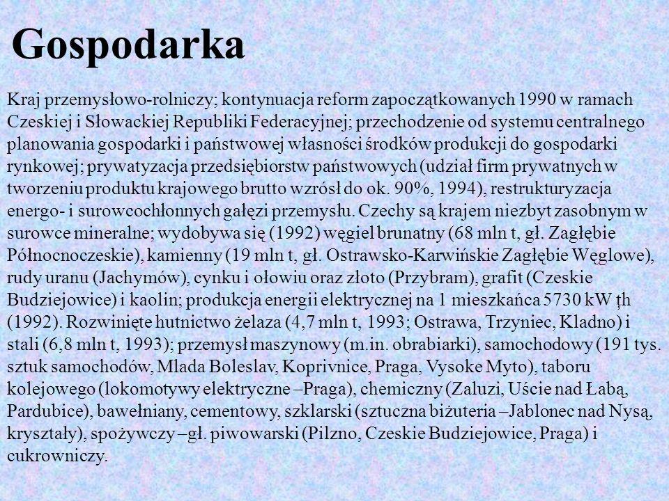 Największe ośrodki przemysłowe: Praga, Brno, Ostrawa, Pardubice.