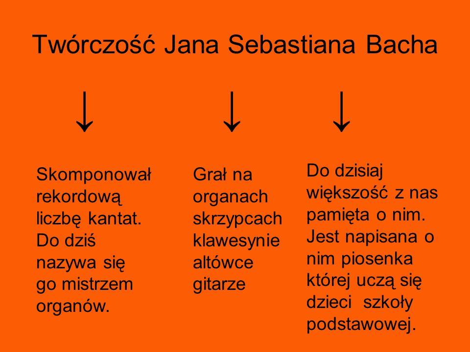 Twórczość Jana Sebastiana Bacha Skomponował rekordową liczbę kantat. Do dziś nazywa się go mistrzem organów. Grał na organach skrzypcach klawesynie al