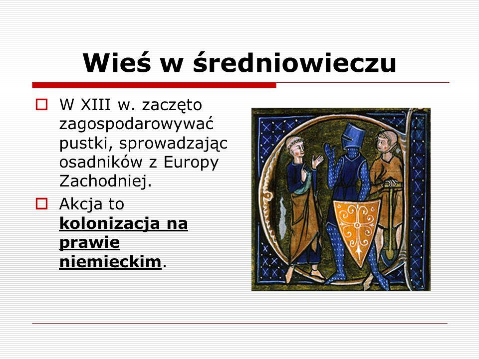 Wieś w średniowieczu Zasadźca – zawierał umowę z panem feudalnym i sprowadzał osadników do nowej wsi, później zostawał w niej dziedzicznym sołtysem.
