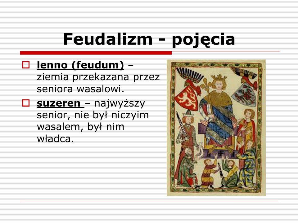 Feudalizm - pojęcia inwestytura (hołd lenny) - uroczyste nadanie lenna, senior wręczał wasalowi włócznie, chorągiew, pierścień lub pastorał jako symbol lenna a ten przysięgał mu wierność.