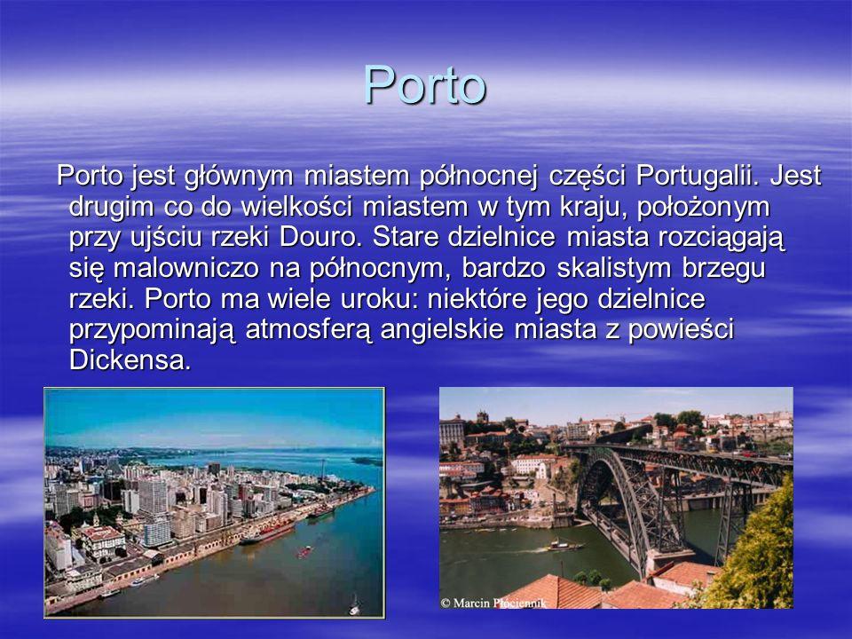 Porto Porto jest głównym miastem północnej części Portugalii. Jest drugim co do wielkości miastem w tym kraju, położonym przy ujściu rzeki Douro. Star