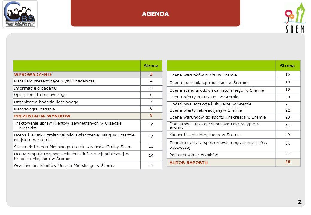 AGENDA Strona WPROWADZENIE 3 Materiały prezentujące wyniki badawcze4 Informacje o badaniu 5 Opis projektu badawczego6 Organizacja badania ilościowego