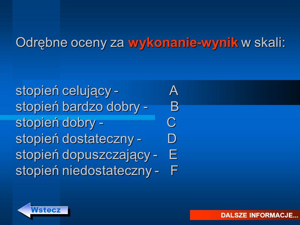 Odrębne oceny za wykonanie-wynik w skali: stopień celujący - A stopień bardzo dobry - B stopień dobry - C stopień dostateczny - D stopień dopuszczając
