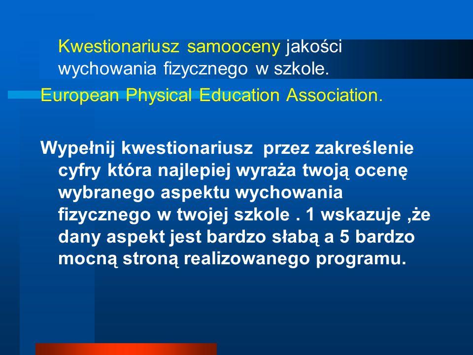 Kwestionariusz samooceny jakości wychowania fizycznego w szkole. European Physical Education Association. Wypełnij kwestionariusz przez zakreślenie cy