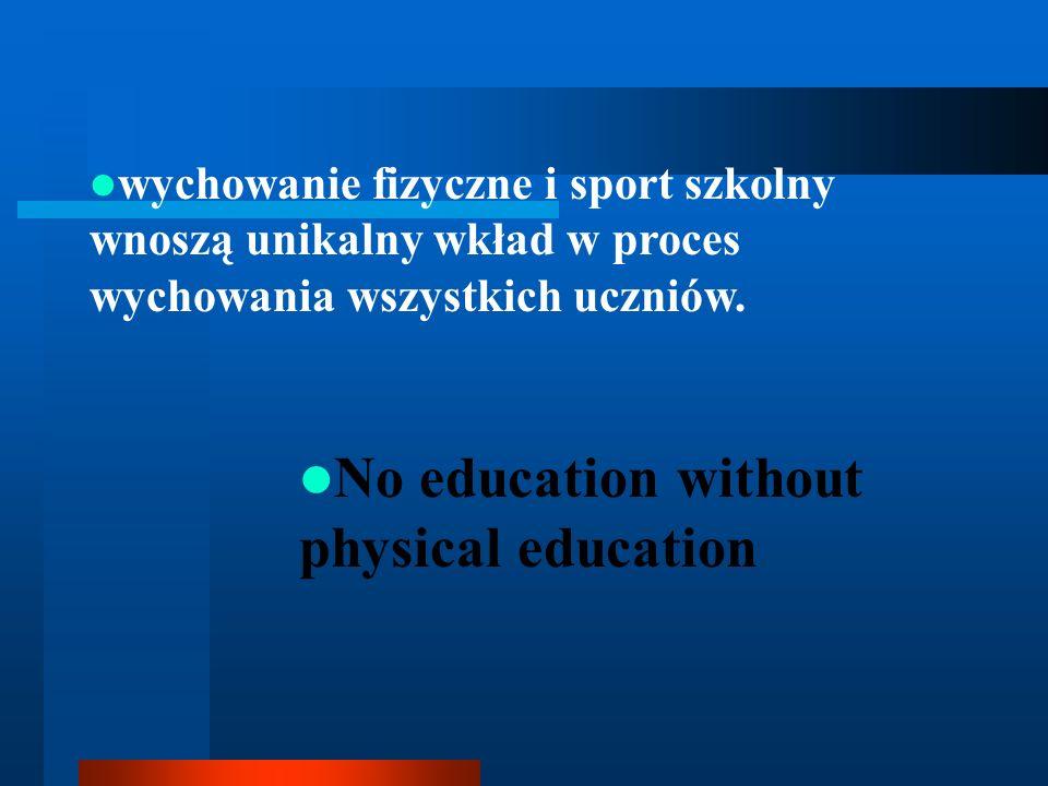 wychowanie fizyczne i sport szkolny wnoszą unikalny wkład w proces wychowania wszystkich uczniów. No education without physical education
