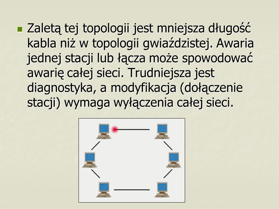 Zaletą tej topologii jest mniejsza długość kabla niż w topologii gwiaździstej. Awaria jednej stacji lub łącza może spowodować awarię całej sieci. Trud