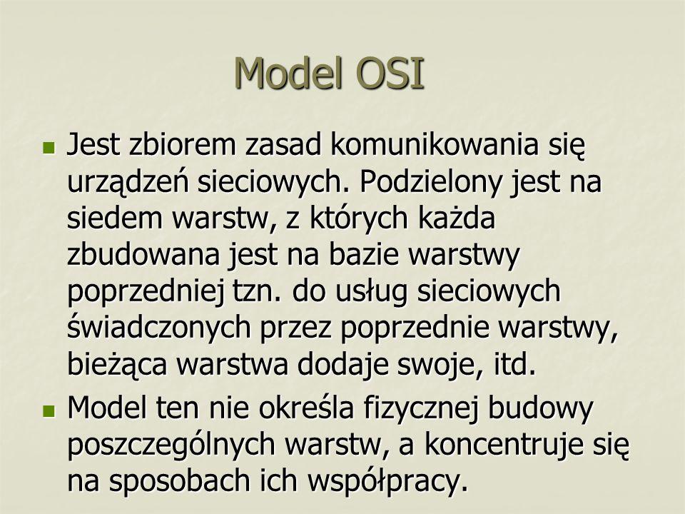 Model OSI Jest zbiorem zasad komunikowania się urządzeń sieciowych. Podzielony jest na siedem warstw, z których każda zbudowana jest na bazie warstwy
