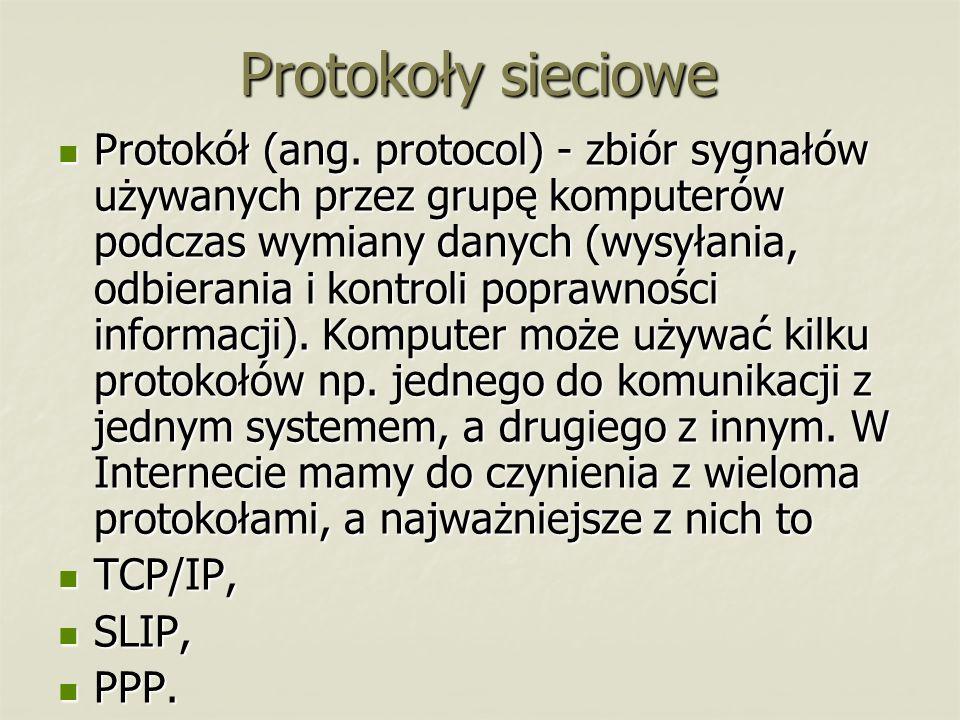Protokoły sieciowe Protokół (ang. protocol) - zbiór sygnałów używanych przez grupę komputerów podczas wymiany danych (wysyłania, odbierania i kontroli