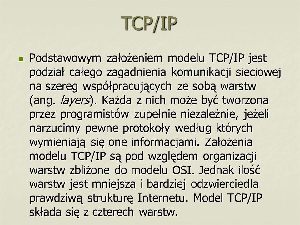 TCP/IP Podstawowym założeniem modelu TCP/IP jest podział całego zagadnienia komunikacji sieciowej na szereg współpracujących ze sobą warstw (ang. laye