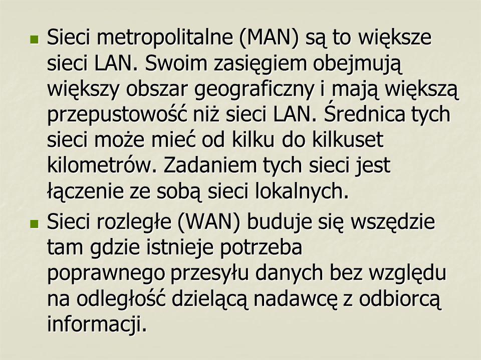 Sieci metropolitalne (MAN) są to większe sieci LAN. Swoim zasięgiem obejmują większy obszar geograficzny i mają większą przepustowość niż sieci LAN. Ś