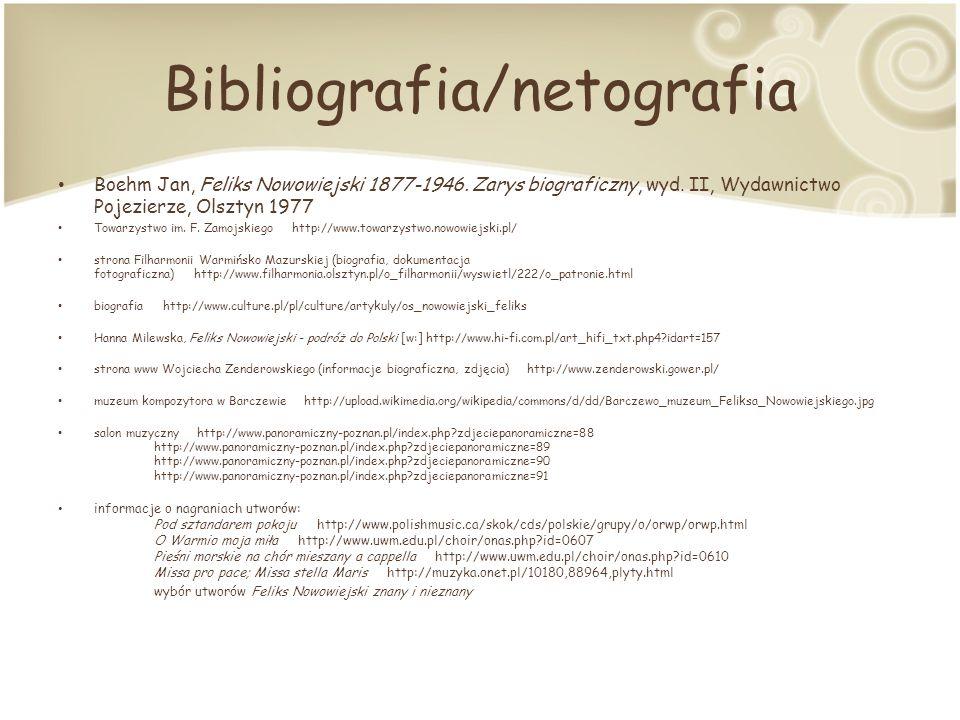 Bibliografia/netografia Boehm Jan, Feliks Nowowiejski 1877-1946.
