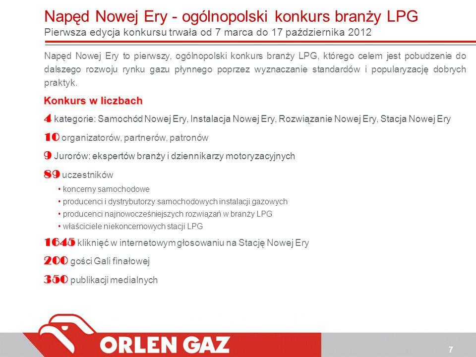 7 Napęd Nowej Ery - ogólnopolski konkurs branży LPG Pierwsza edycja konkursu trwała od 7 marca do 17 października 2012 Napęd Nowej Ery to pierwszy, og