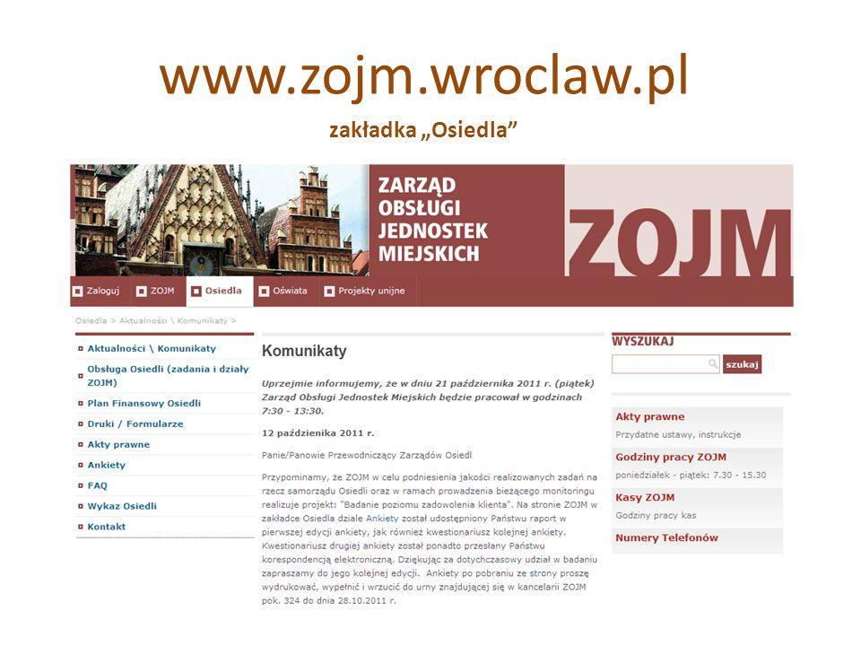 TYTUŁ SLAJDU Zasady… to kompendium wytycznych i zaleceń dotyczących prowadzonej przez ZOJM obsługi finansowej i prawnej Osiedli zapisy Zasad… wynikają z przepisów aktów prawa powszechnego (uosg, uofp, uor, Pzp) jak również aktów prawa miejscowego (Statut Wrocławia, Statuty Osiedli, uchwały Rady Miejskiej) trzy przestrzenie: obsługa finansowa, obsługa prawna oraz inwentaryzacja majątku gminnego