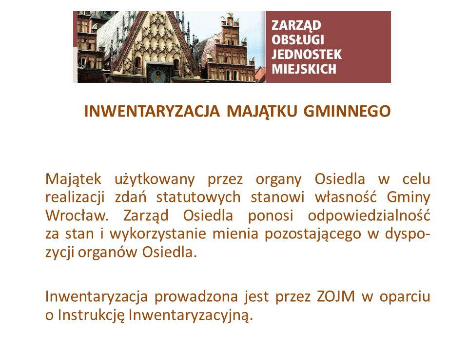 TYTUŁ SLAJDU INWENTARYZACJA MAJĄTKU GMINNEGO Majątek użytkowany przez organy Osiedla w celu realizacji zdań statutowych stanowi własność Gminy Wrocław