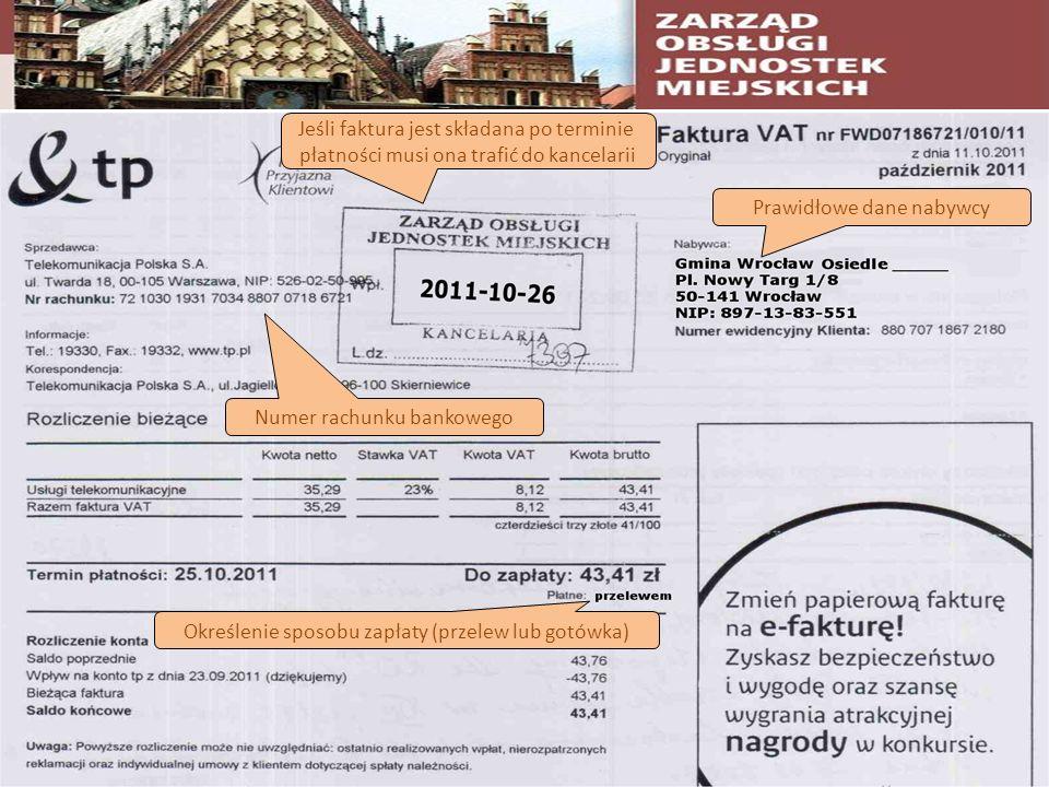 Prawidłowe dane nabywcy Jeśli faktura jest składana po terminie płatności musi ona trafić do kancelarii Określenie sposobu zapłaty (przelew lub gotówk