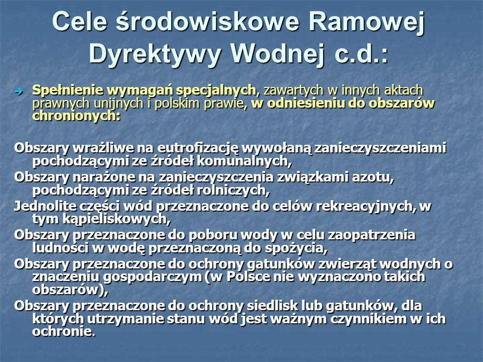 Cele środowiskowe Ramowej Dyrektywy Wodnej c.d.: Spełnienie wymagań specjalnych, zawartych w innych aktach prawnych unijnych i polskim prawie, w odnie
