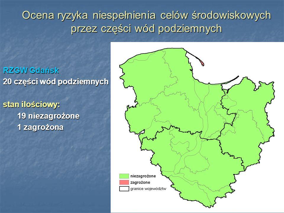 Ocena ryzyka niespełnienia celów środowiskowych przez części wód podziemnych RZGW Gdańsk 20 części wód podziemnych stan ilościowy: 19 niezagrożone 1 z