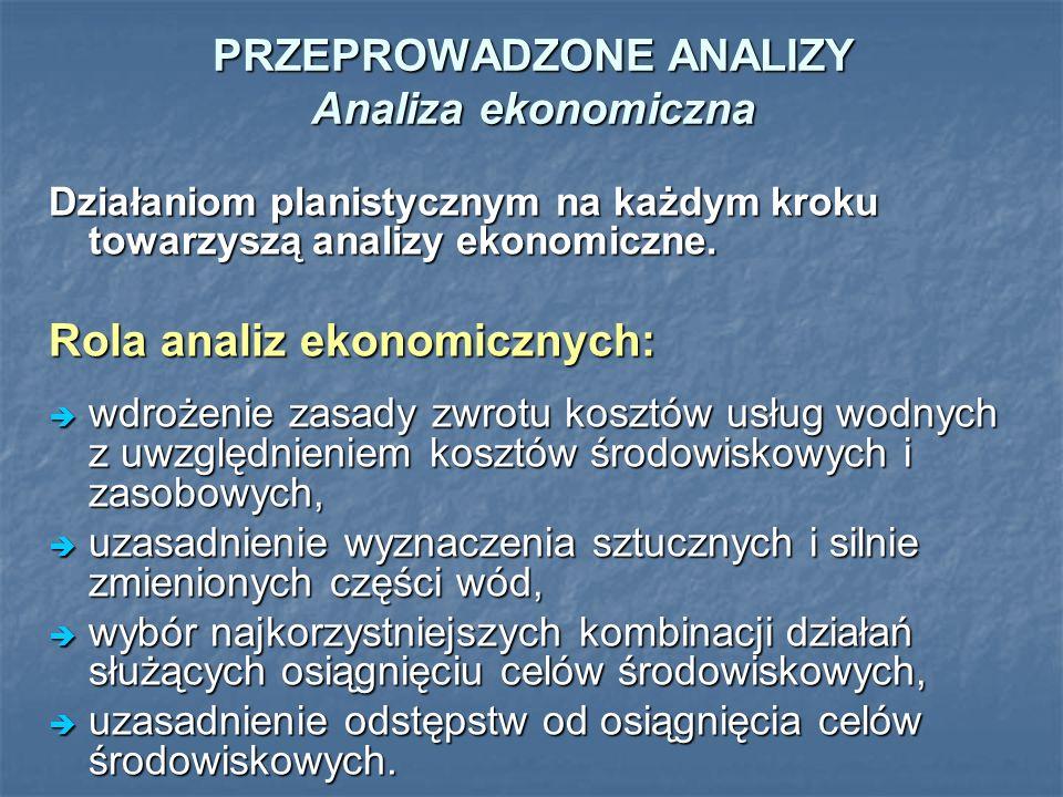 PRZEPROWADZONE ANALIZY Analiza ekonomiczna Działaniom planistycznym na każdym kroku towarzyszą analizy ekonomiczne. Rola analiz ekonomicznych: wdrożen