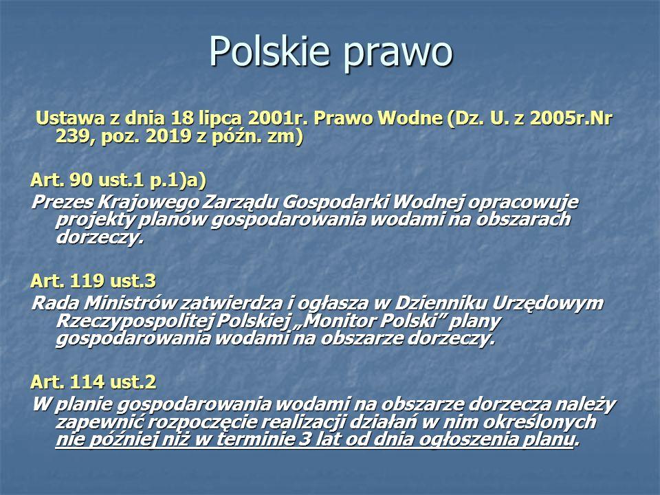 Polskie prawo Ustawa z dnia 18 lipca 2001r. Prawo Wodne (Dz. U. z 2005r.Nr 239, poz. 2019 z późn. zm) Ustawa z dnia 18 lipca 2001r. Prawo Wodne (Dz. U