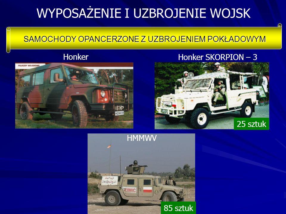 WYPOSAŻENIE I UZBROJENIE WOJSK SAMOCHODY OPANCERZONE Z UZBROJENIEM POKŁADOWYM 25 sztuk 85 sztuk HMMWV Honker SKORPION – 3 Honker