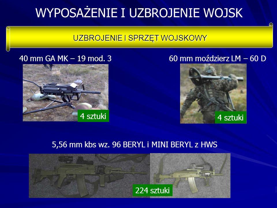 WYPOSAŻENIE I UZBROJENIE WOJSK UZBROJENIE I SPRZĘT WOJSKOWY 40 mm GA MK – 19 mod. 3 60 mm moździerz LM – 60 D 5,56 mm kbs wz. 96 BERYL i MINI BERYL z