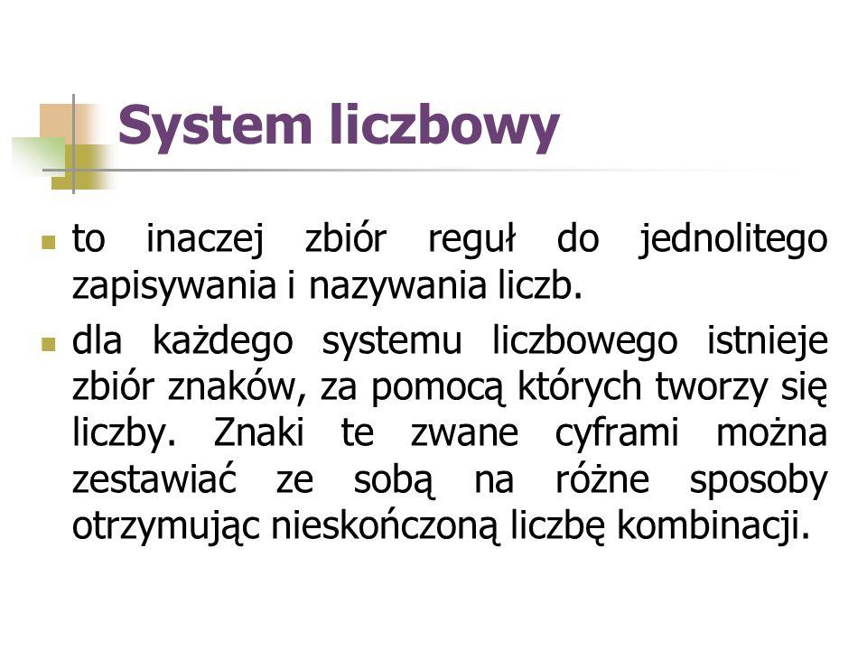System liczbowy to inaczej zbiór reguł do jednolitego zapisywania i nazywania liczb.