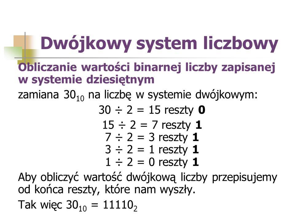 Obliczanie wartości binarnej liczby zapisanej w systemie dziesiętnym zamiana 30 10 na liczbę w systemie dwójkowym: 30 ÷ 2 = 15 reszty 0 15 ÷ 2 = 7 reszty 1 7 ÷ 2 = 3 reszty 1 3 ÷ 2 = 1 reszty 1 1 ÷ 2 = 0 reszty 1 Aby obliczyć wartość dwójkową liczby przepisujemy od końca reszty, które nam wyszły.
