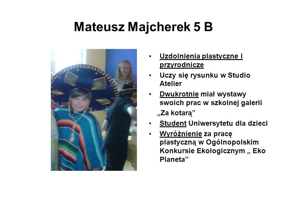 Mateusz Majcherek 5 B Uzdolnienia plastyczne i przyrodnicze Uczy się rysunku w Studio Atelier Dwukrotnie miał wystawy swoich prac w szkolnej galerii Z
