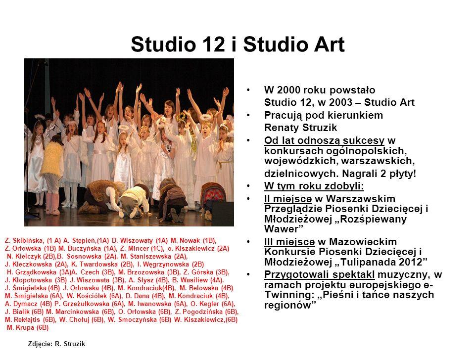 Studio 12 i Studio Art W 2000 roku powstało Studio 12, w 2003 – Studio Art Pracują pod kierunkiem Renaty Struzik Od lat odnoszą sukcesy w konkursach o