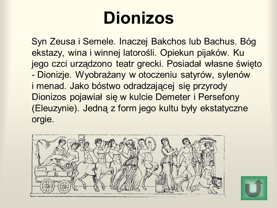 Dionizos Syn Zeusa i Semele. Inaczej Bakchos lub Bachus. Bóg ekstazy, wina i winnej latorośli. Opiekun pijaków. Ku jego czci urządzono teatr grecki. P