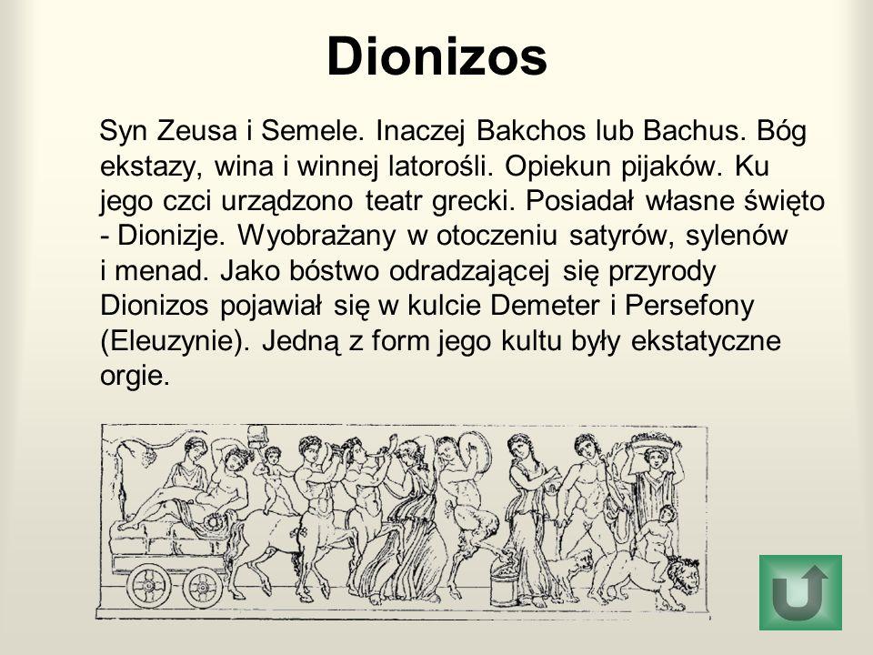 Dionizos Syn Zeusa i Semele.Inaczej Bakchos lub Bachus.